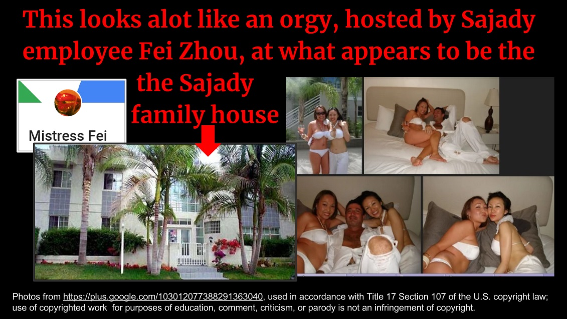 Apparent orgy hosted by Fei Zhou at sex cult leader Mas Sajady's escape house in San Diego.
